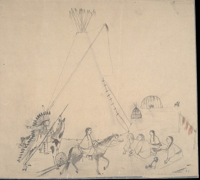 Charles Murphy preliminary drawing of tipi camp scene, ca. 1903?