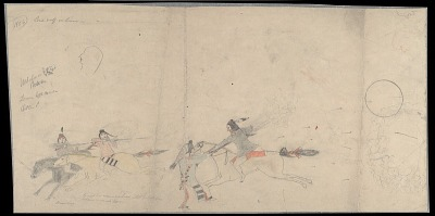Anonymous Cheyenne drawing of Lone Wolf in battle with Crow warriors, ca. 1903?