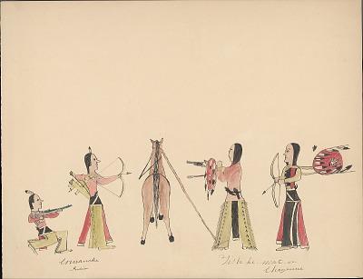Tichkematse drawing of two Comanche men confronting two Cheyenne men, 1879 November 8