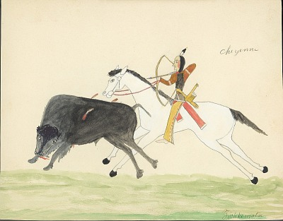 Tichkematse drawing of Cheyenne man with quiver on horseback aiming bow and arrow at wounded buffalo, 1879 November 8