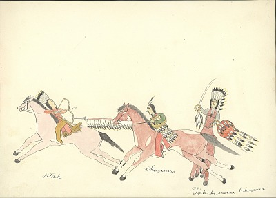 Tichkematse drawing of two mounted Cheyenne warriors with feathered shields, lance, and sword, pursuing mounted Ute warrior aiming bow and arrow, 1879 November 8