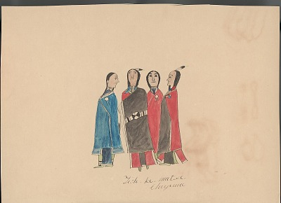 Tichkematse drawing of three men and one woman, all wrapped in blankets, 1879