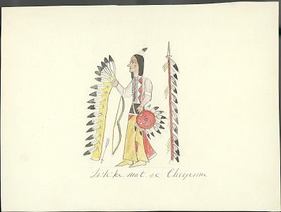 Tichkematse drawing of man wearing face paint holding full feathered headdress, with feathered lance, shield, bow and arrow nearby, 1879