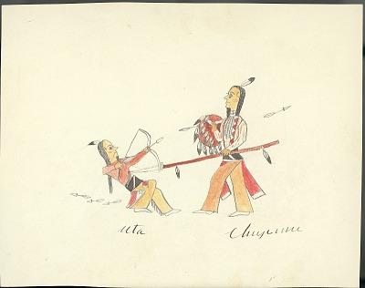 Tichkematse drawing of battle scene between Cheyenne and Ute, 1879