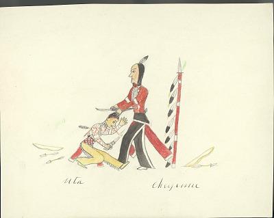 Tichkematse drawing of Cheyenne scalping Ute, 1879