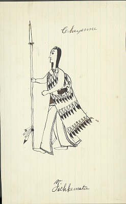 Tichkematse drawing of man carrying lance, cloth-draped, and feathered shield with bear symbol, 1879