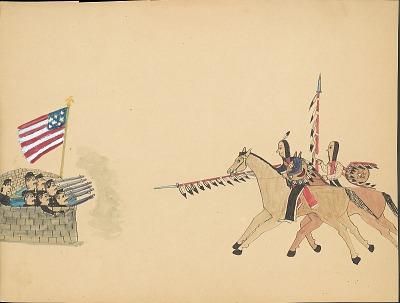 Tichkematse drawing of two Indian men on horseback charging U.S. soldiers in fortification, 1879