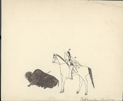 Tichkematse drawing of man on horseback hunting buffalo, 1879