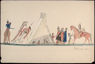 Tichkematse drawing of camp scene with men and children gathered outside a tipi, with sides rolled up to show woman cooking inside, 1879