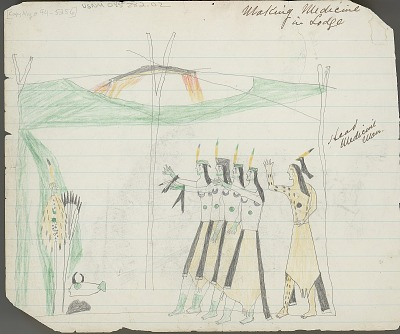 Anonymous Kiowa drawing of five men wearing body paint standing inside the Medicine Lodge and five individuals portraying buffalo being led to the Medicine Lodge by a man, 1875