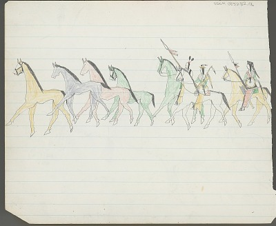 Anonymous Kiowa drawing of men stealing horses from corral, 1875