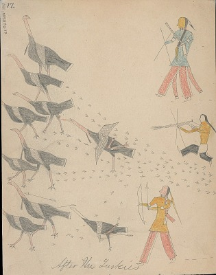 Anonymous Cheyenne drawing of three men hunting flock of turkeys, 1875 August