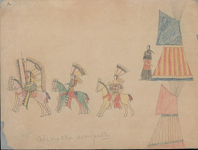 Making Medicine drawing of mounted warriors with shields and lances, riding from camp, and woman near two painted tipis, 1875