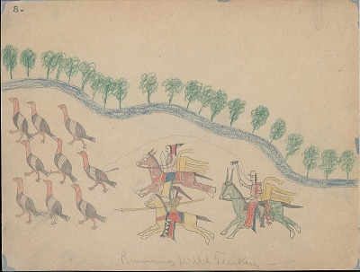 Making Medicine drawing of three mounted men with weapons charging wild turkeys near stream with trees, 1875