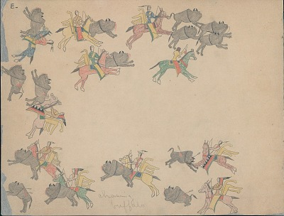 Making Medicine drawing of row of group of men with weapons, bow cases, and quivers attacking herd of buffalo, 1875