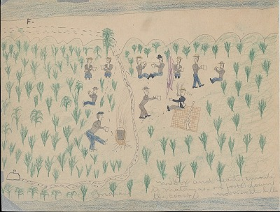 Making Medicine drawing of George Fox leading party of Indian prisoners to Matanzas, 1875