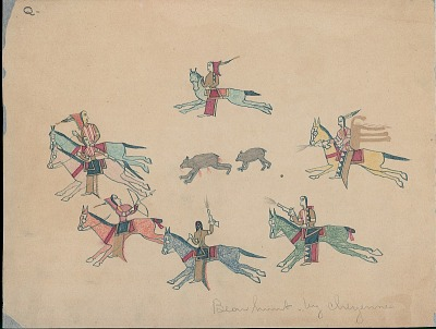 Making Medicine drawing of group of riders surrounding bear and cub, 1875