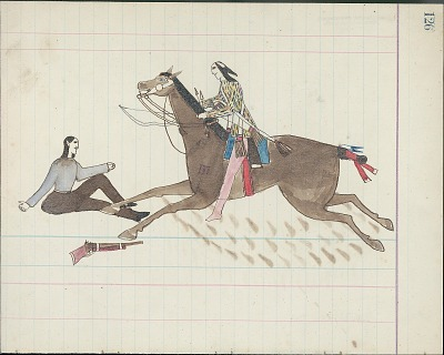 Kiowa drawing, possibly by Koba or Etadleuh, of mounted warrior counting coup on a Mexican or White man seated on the ground, 1875-1877