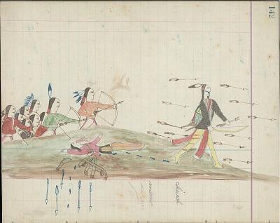 Kiowa drawing, possibly by Koba or Etadleuh, of Navaho warriors pursuing Kiowa warrior, 1875-1877