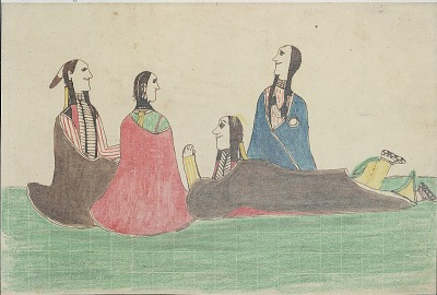 Kiowa drawing, possibly by Koba or Etahdleuh, of courting scene with two couples, 1875-1877