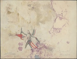 Anonymous drawing, possibly Cheyenne, of warrior, identified by name glyph, holding scalp he has taken from fallen enemy, n.d