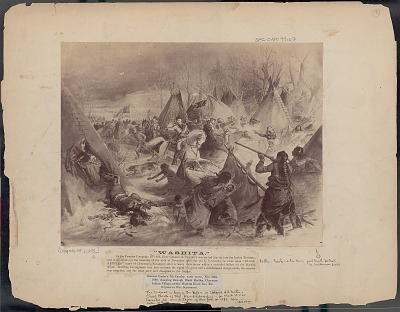 Painting, by James Earl Taylor in 1878, of Battle of Washita, Nov 27 1868, Showing Non-Native Soldiers of 7th Cavalry Attacking Group in Native Dress in Camp of Tipis 1878