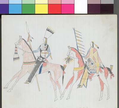 Anonymous Kiowa drawing of two mounted men carrying shields and lances, 1875-1878