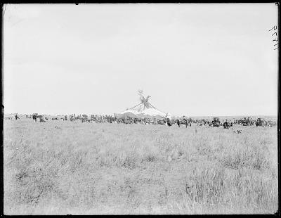 Sun Dance lodge showing thunderbird nest. Oklahoma 1903