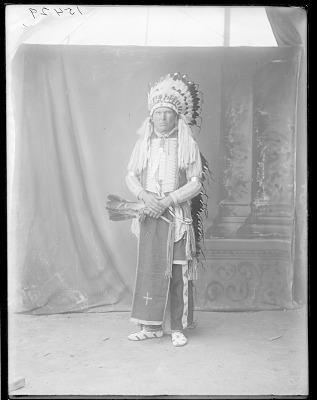 Full length front view of Jack Bull Bear. Oklahoma. U.S. Indian school 1904