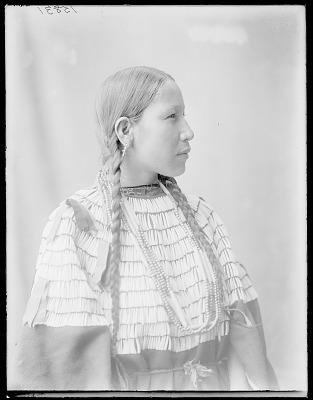 Side view of Indian woman, Mrs John Stanton. Oklahoma. U.S. Indian school 1904