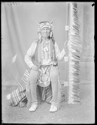 Chief Poor Elk, seated (two of this number). Oklahoma. U.S. Indian school 1904