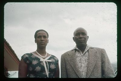 King and Queen of Urundi [Mwambutsa and wife] close up, circa 1957