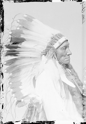 Portrait (Profile) of Kuc-Kun-Ni-Wi or Hach-Ivi (Little Chief) or Magpie Eagle Feathers, in Partial Native Dress with Headdress and Cross Necklace 1879