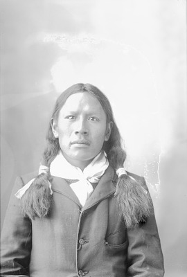 Portrait (Front) of Guy Redcloud in Partial Native Dress 1898