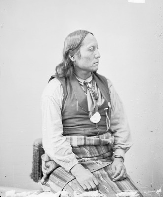 Portrait (Profile) of Pai-Talyi (Son Of The Sun) or (Sun Boy) In Partial Native Dress with Peace Medal 1872