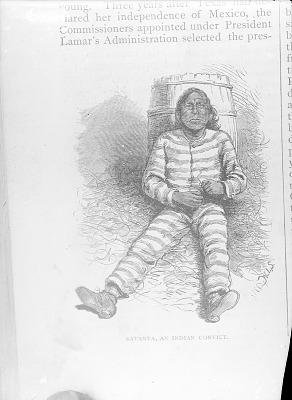 Illustration of Kiowa man, Set-tain-te (White Bear) in prison 1870