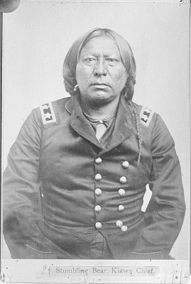 Portrait of Chief Set-Imkia (Stumbling Bear) Wearing Military Jacket and Ornaments 1867-75