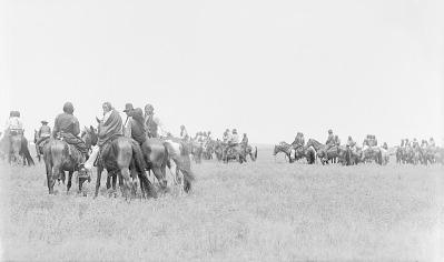 Group of Men on Horseback Watching Horse Races 1891