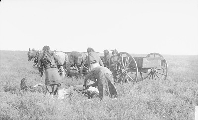 Dividing Meat at Beef Issue, Group of SIx near Wagon 1892