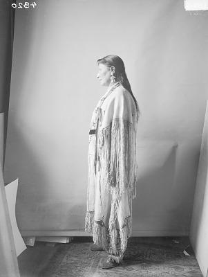 Portrait (Profile) of Tonhadel (Broken Leg) or Mrs Laura Pedrick or Laura Toneadlemah or Dunmore or Doanmore, Interpreter, in Native Dress with Ornaments 1898