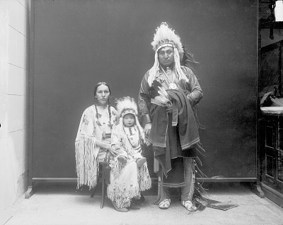 Group Portrait of Emhaua (Rescuer), Called Delos K. Lone Wolf, with His Wife and Child, Theodore Roosevelt Lone Wolf MAR 1913