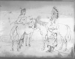 Drawing by R. F. Kurz of Two Men Near Two Horses Talking, One Man in Painted Buffalo Robe and Headdress, Other Man in Native Dress and with Quiver 1851