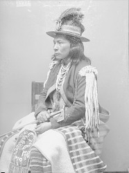 Portrait (Profile) of Wa-Lam-Ot-Ki (Little Chief) in Native Dress with Ornaments and Holding Pipe-tomahawk and Bag 1890