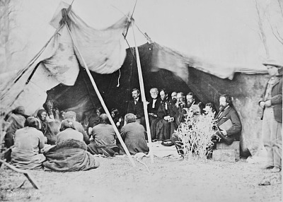 U S. Army Commissioners in Council with Chiefs Inside Tent 1868