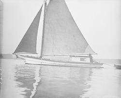 [Tom Hill on his sloop] April 2, 1910