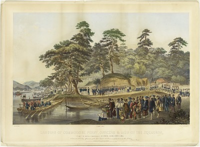 Landing of Commodore Perry, Officers and Men of the Squadron, to Meet the Imperial Commissioners at Simoda, Japan, June 8, 1854
