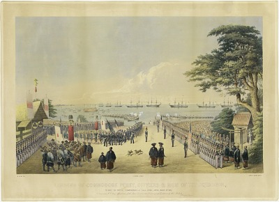 Landing of Commodore Perry, Officers and Men of the Squadron, to Meet the Imperial Commissioners at Yoku-hama, Japan, March 8th 1854