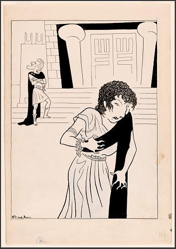 "Judith Anderson (with Sir John Gielgud) in ""Medea"""