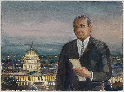 Color Composition Study for Portrait of Lyndon B. Johnson
