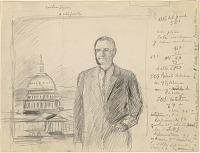 Preparatory study for portrait of Lyndon B. Johnson, with artist's notes in Spanish